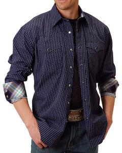 Roper Men's Amarillo Collection Purple Haze Geo Print Long Sleeve Snap Shirt, Purple, hi-res