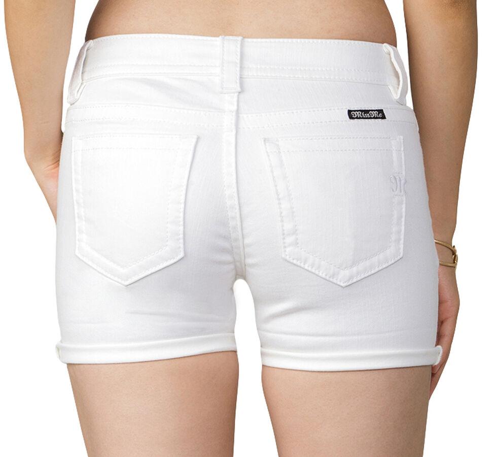 Miss Me Women's Keeping Score Mid-Rise Shorts, White, hi-res