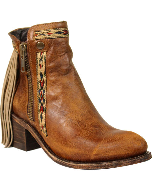 Corral Women's Fringe Zipper Short Boots - Medium Toe , Brown, hi-res