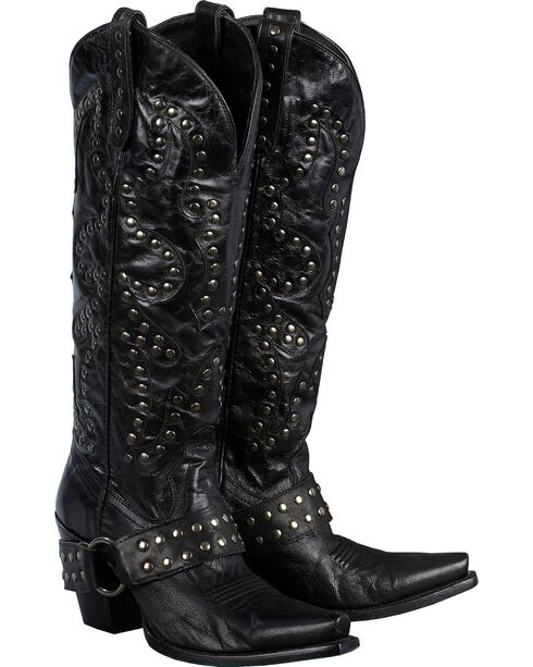 Lane Boots Studded Rocker Harness Cowgirl Boots - Snip Toe, Black, hi-res