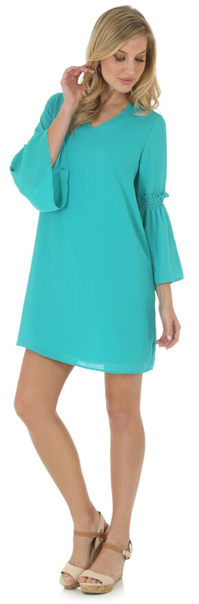 Wrangler Women's Teal Green V Neck Dress with Flutter Sleeves, Green, hi-res