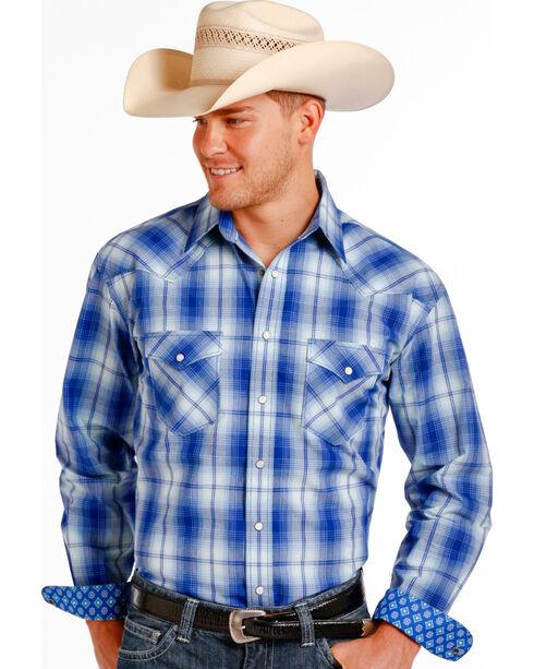 Panhandle Slim Men's Blue Erie Ombre Plaid Long Sleeve Shirt , Blue, hi-res
