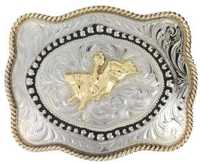 Cody James Men's Bull Rider Belt Buckle, Silver, hi-res