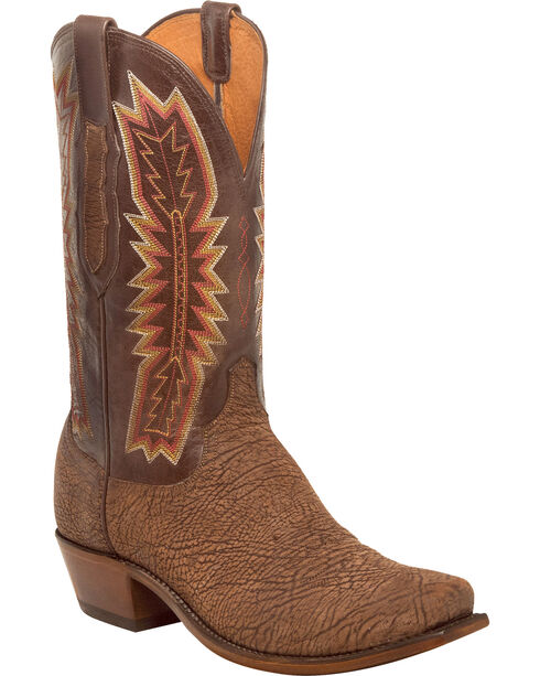Lucchese Men's Harrison Chocolate Sueded Sheep Western Boots - Square Toe, Chocolate, hi-res