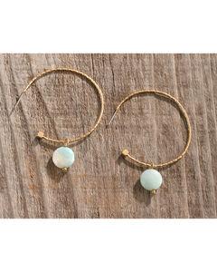 Shyanne Women's Textured Bead Hoop Earrings, Gold, hi-res