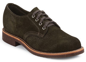 Chippewa Men's Chocolate Moss Whirlwind Service Suede Oxford Shoes, Chocolate, hi-res