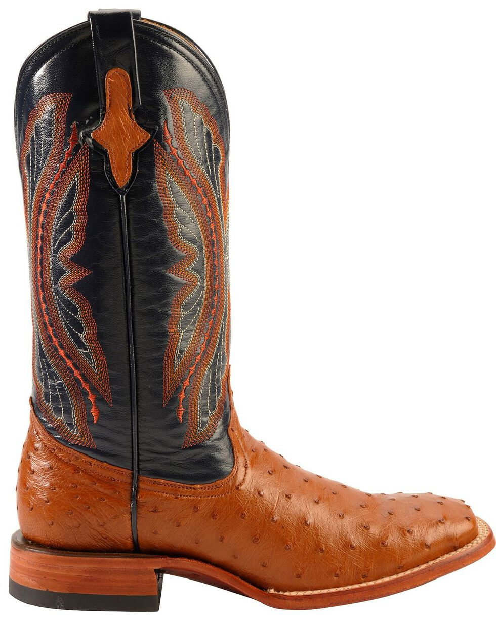 Ferrini Men's Cognac Full Quill Ostrich Cowboy Boots - Wide Square Toe, Cognac, hi-res