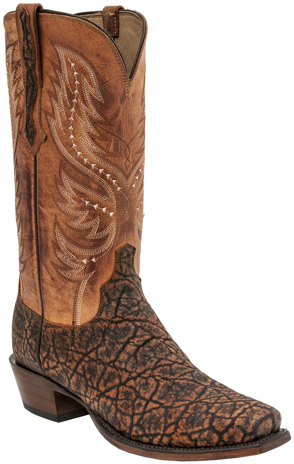 Lucchese Handmade Wes Elephant Exotic Western Boots - Square Toe , Cognac, hi-res