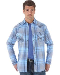 Wrangler 20X Men's Blue & Black Plaid Long Sleeve Snap Shirt, , hi-res