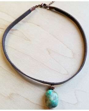 Jewelry Junkie Leather Choker with African Turquoise Accent, Turquoise, hi-res