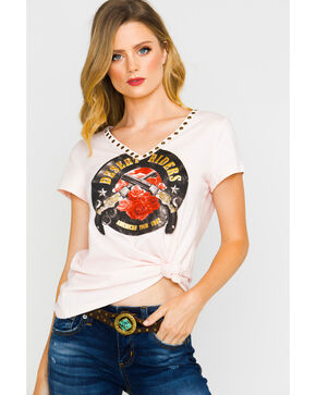 Shyanne Women's Blush Pistol Desert Riders V-Neck T-Shirt, Blush, hi-res