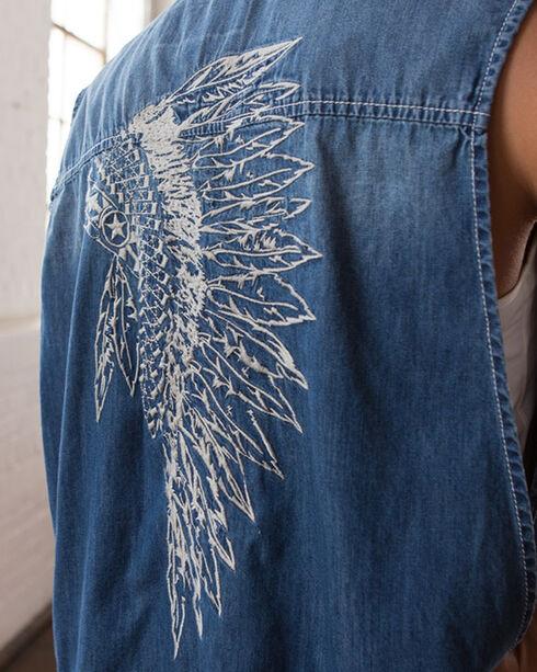 Ryan Michael Women's Headdress Embroidered Vest, Indigo, hi-res