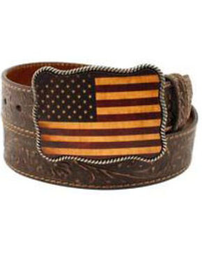 Nocona Embossed Thunderbird Belt, Brown, hi-res