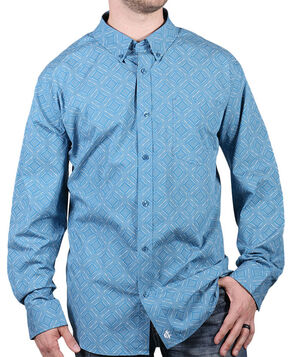 Cody James Core Men's Rough Stock Print Long Sleeve Shirt, Turquoise, hi-res