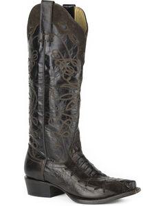 Stetson Women's Georgia Caiman Western Boots - Snip Toe, Brown, hi-res