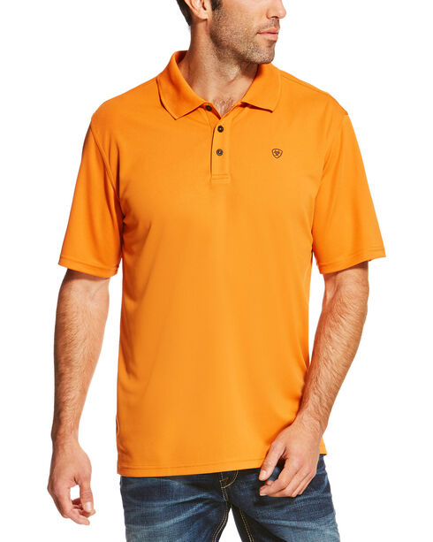 Ariat Men's Solid Short Sleeve Logo Polo, Orange, hi-res