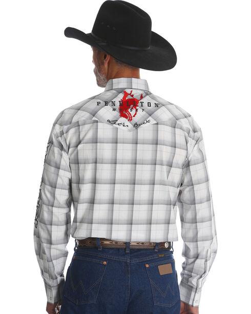Wrangler Men's Plaid Logo Long Sleeve Shirt - Tall, White, hi-res