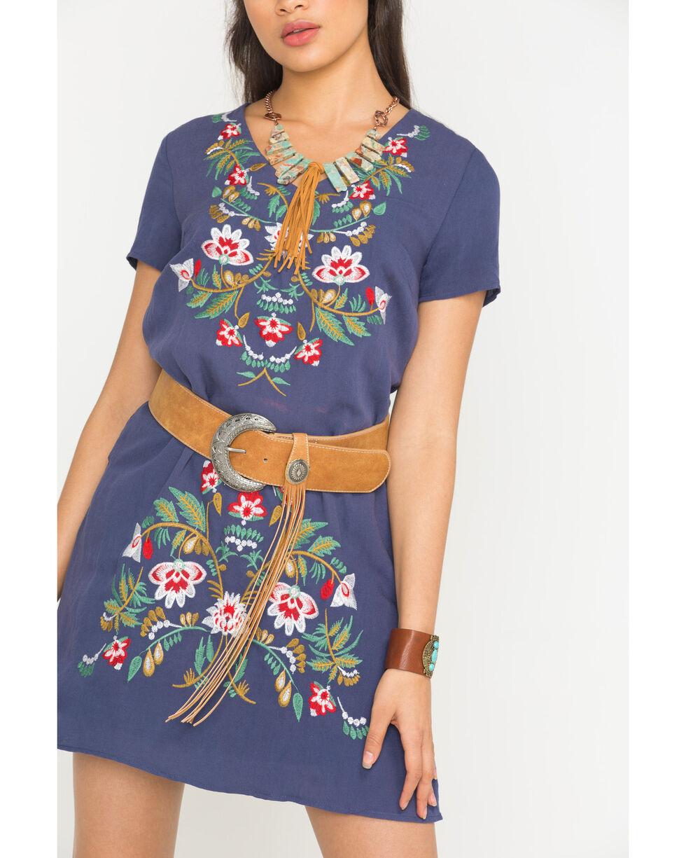 Polagram Women's Navy Embroidered Short Sleeve Dress , Navy, hi-res