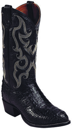 Tony Lama Black Royal Hornback Caiman Exotic Cowboy Boots - Round Toe , , hi-res