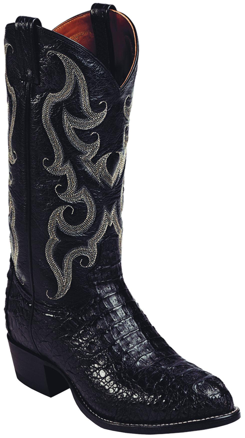 Tony Lama Black Royal Hornback Caiman Exotic Cowboy Boots - Round Toe , Black, hi-res
