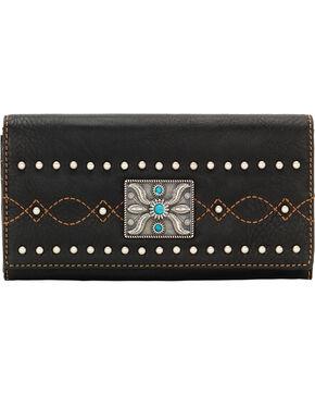 Bandana by American West Black Canyon Flap Wallet, Black, hi-res