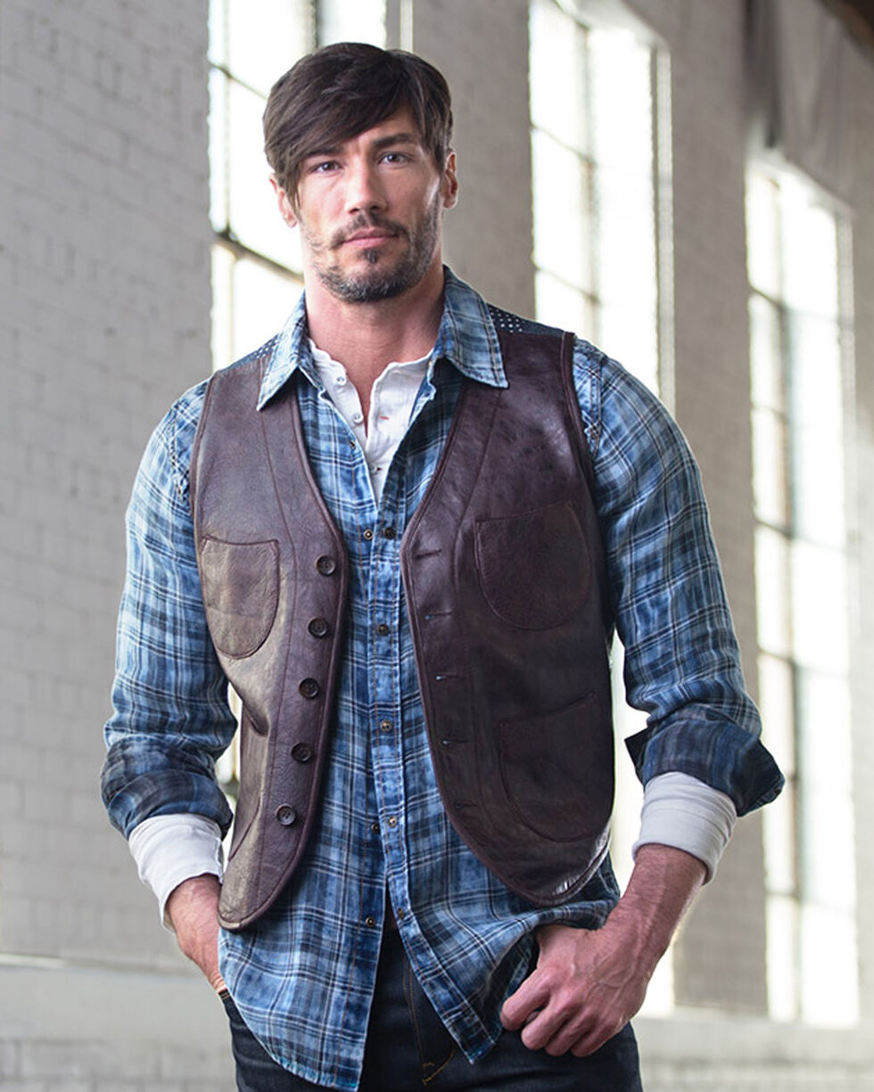 Ryan Michael Men's Leather & Indigo Print Vest, Chestnut, hi-res