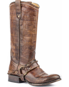 Roper Women's Selah Vintage Brown Leather Harness Boots - Round Toe, Brown, hi-res