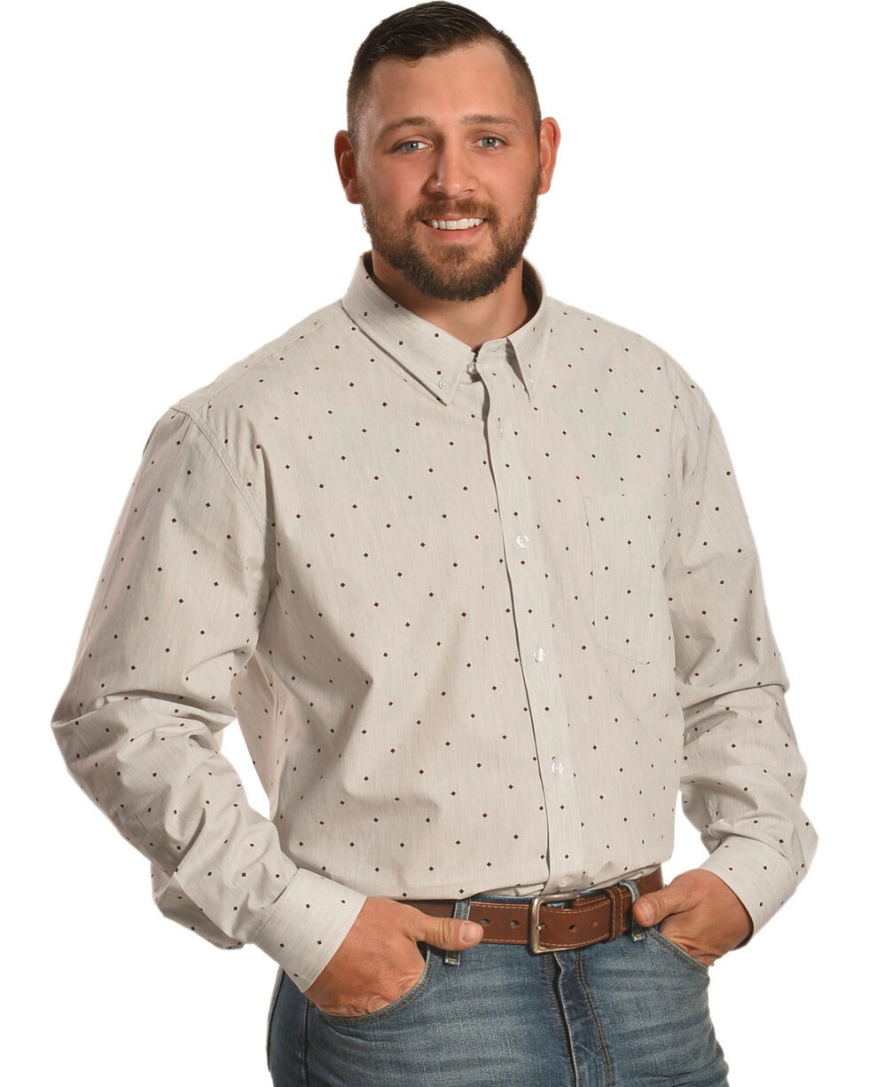 Cody James Men's Palo Alto Diamond Print Long Sleeve Shirt, Grey, hi-res