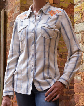 Ryan Michael Women's Rope Stitch Plaid Shirt, Sky, hi-res