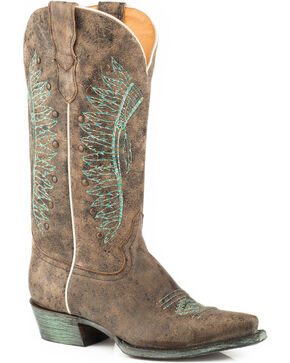 Roper Women's Brown Chiefs Leather Boots - Snip Toe , Brown, hi-res
