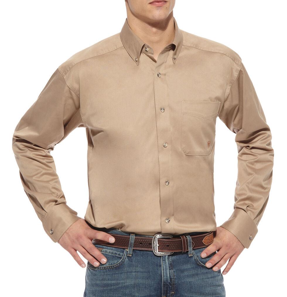Ariat Khaki Twill Cowboy Shirt - Big and Tall, Khaki, hi-res