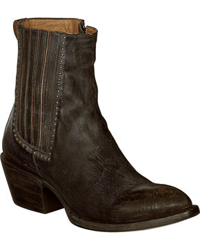 Lucchese Black Distressed Leather Adele Cowgirl Booties - Pointed Toe , Black, hi-res