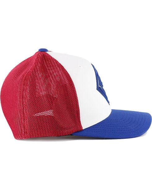Rock & Roll Cowboy Men's FlexFit Ball Cap, Red/white/blue, hi-res