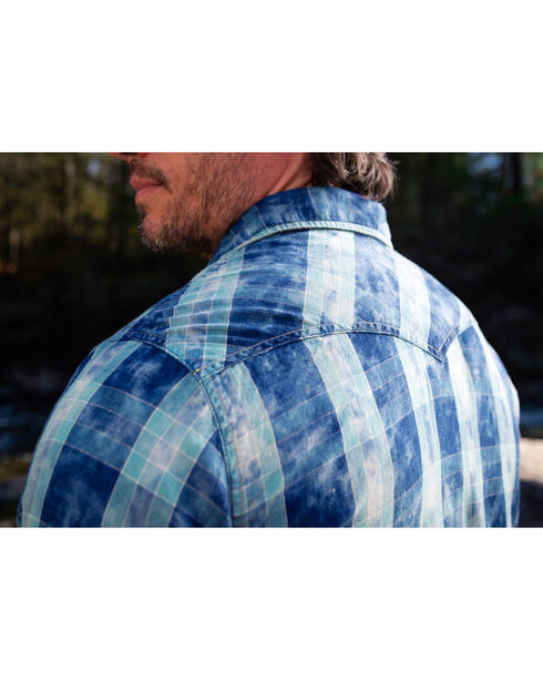 Ryan Michael Men's Indigo Box Plaid Western Shirt, Indigo, hi-res