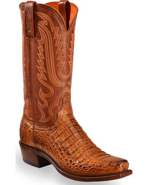 Lucchese Men's Handmade Walter Hornback Caiman Belly Boots - Square Toe , Tan, hi-res