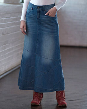 Ryan Michael Women's Long Denim Skirt, Indigo, hi-res