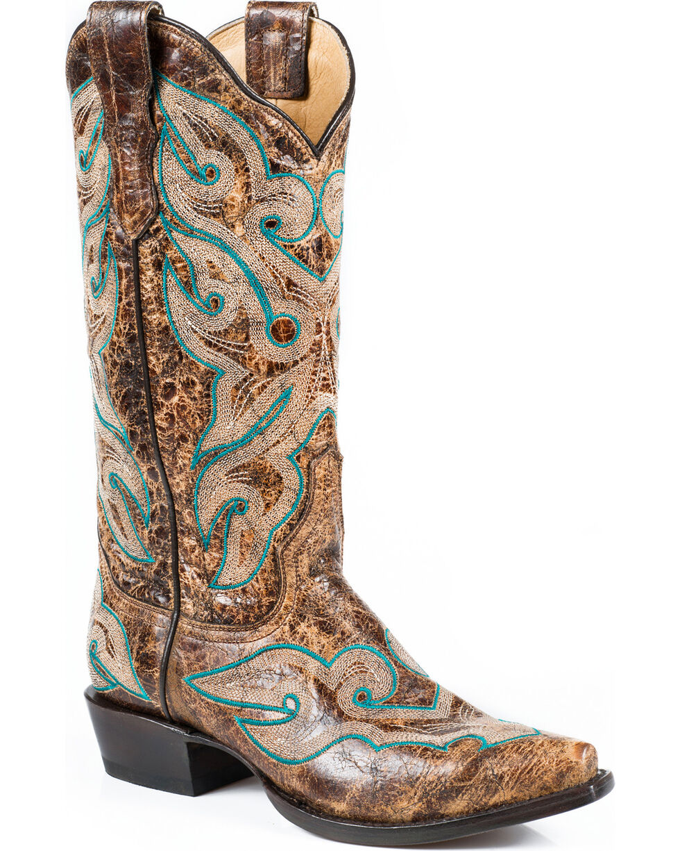 Stetson Women's Vintage Distressed Brown Western Boots - Snip Toe, Brown, hi-res