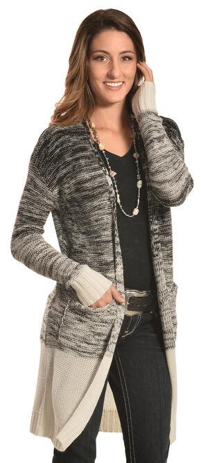Derek Heart Women's Black Marled Long Cardigan , Black, hi-res