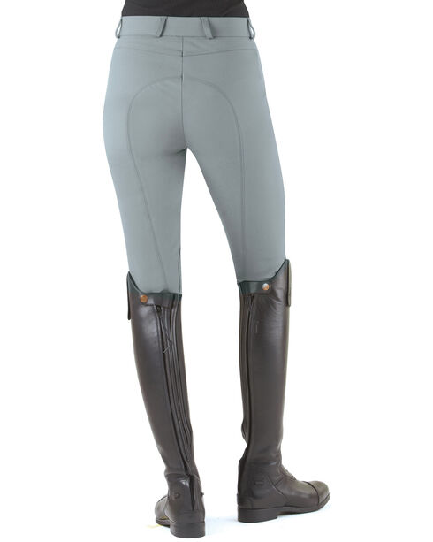 Ovation Women's Milano Knee Patch Breeches, Grey, hi-res