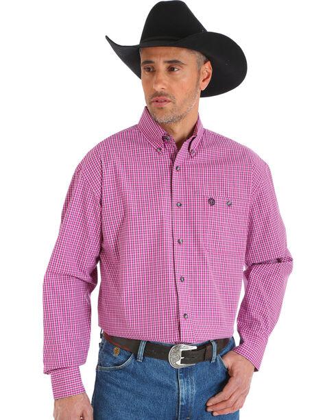 Wrangler George Strait Men's Plaid Button Down Shirt, Magenta, hi-res
