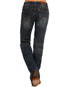 Rock & Roll Cowgirl Women's Blue Stitched Riding Jeans - Boot Cut , Blue, hi-res