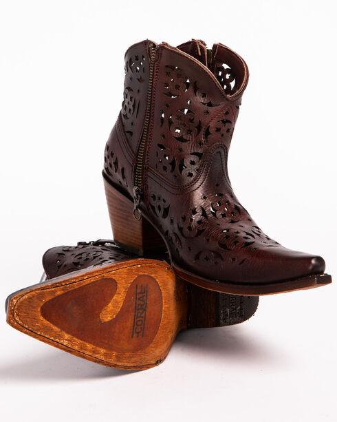 Corral Women's Cutout Short Boots - Snip Toe, Wine, hi-res