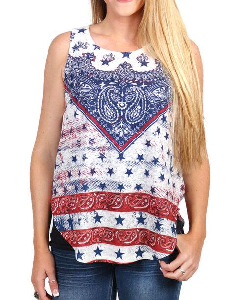 Moa Moa Women's Americana Knit Tank, Red/white/blue, hi-res