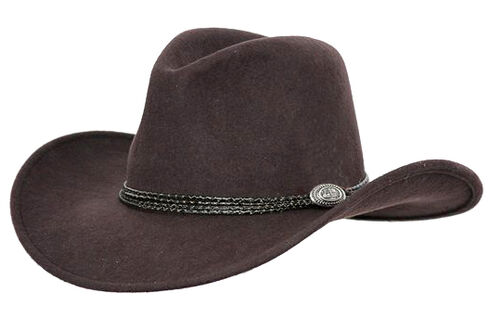 Outback Trading Co. Shy Game UPF50 Sun Protection Crushable Wool Hat, Brown, hi-res