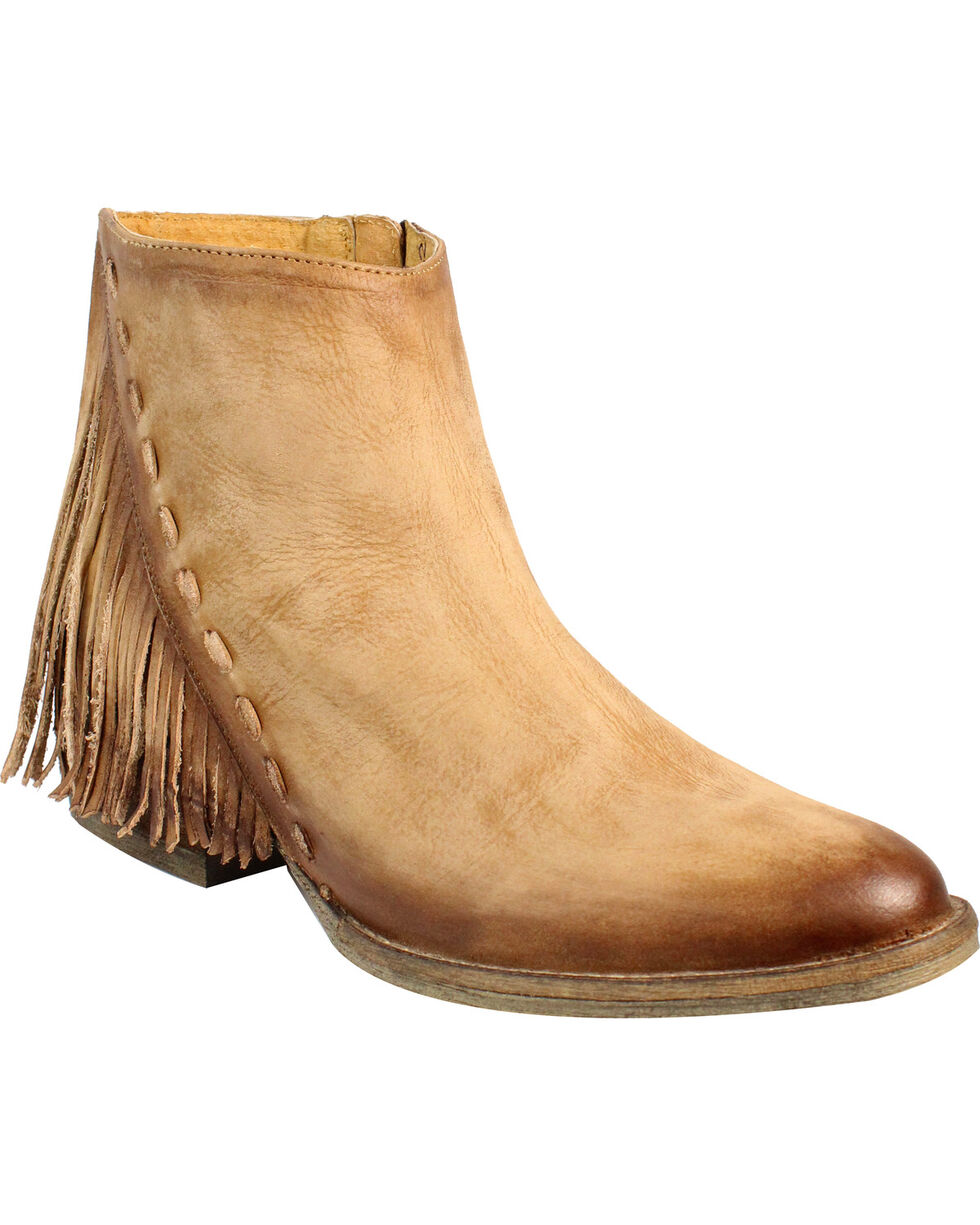 Circle G by Corral Women's Distressed Side Fringe Booties - Round Toe , Honey, hi-res