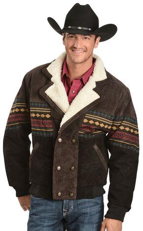 Vintage Leather Aztec Border Jacket, Brown, hi-res
