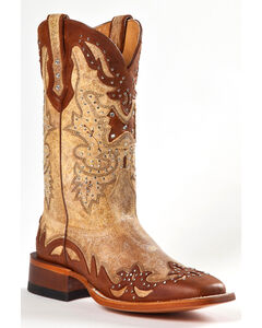 Johnny Ringo Women's Fancy Studded Wingtip Western Boots - Square Toe, Tan, hi-res