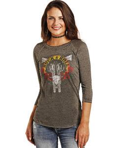 Rock & Roll Cowgirl Women's Guns and Roses Baseball T-Shirt , Charcoal, hi-res