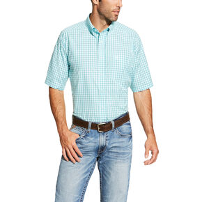Ariat Men's Aqua Norrington Short Sleeve Shirt - Big and Tall , Aqua, hi-res