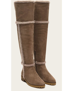 Frye Women's Taupe Suede Tamara Shearling OTK Boots - Round Toe , Taupe, hi-res